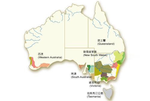 澳洲主要产区分布图