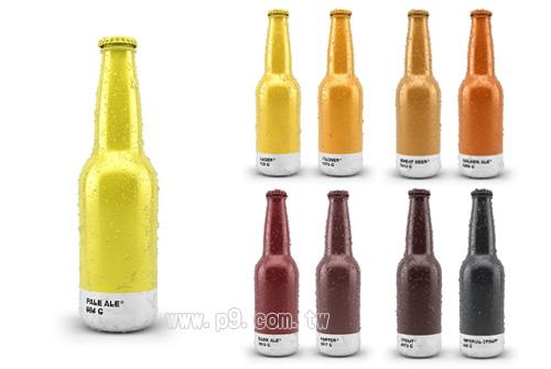 将啤酒颜色应用於啤酒外包装设计,并在每个酒瓶下面都标注了国际通用