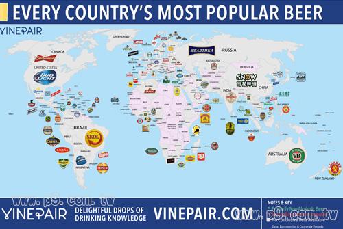 知名网站vinepair制作出一份世界啤酒地图.